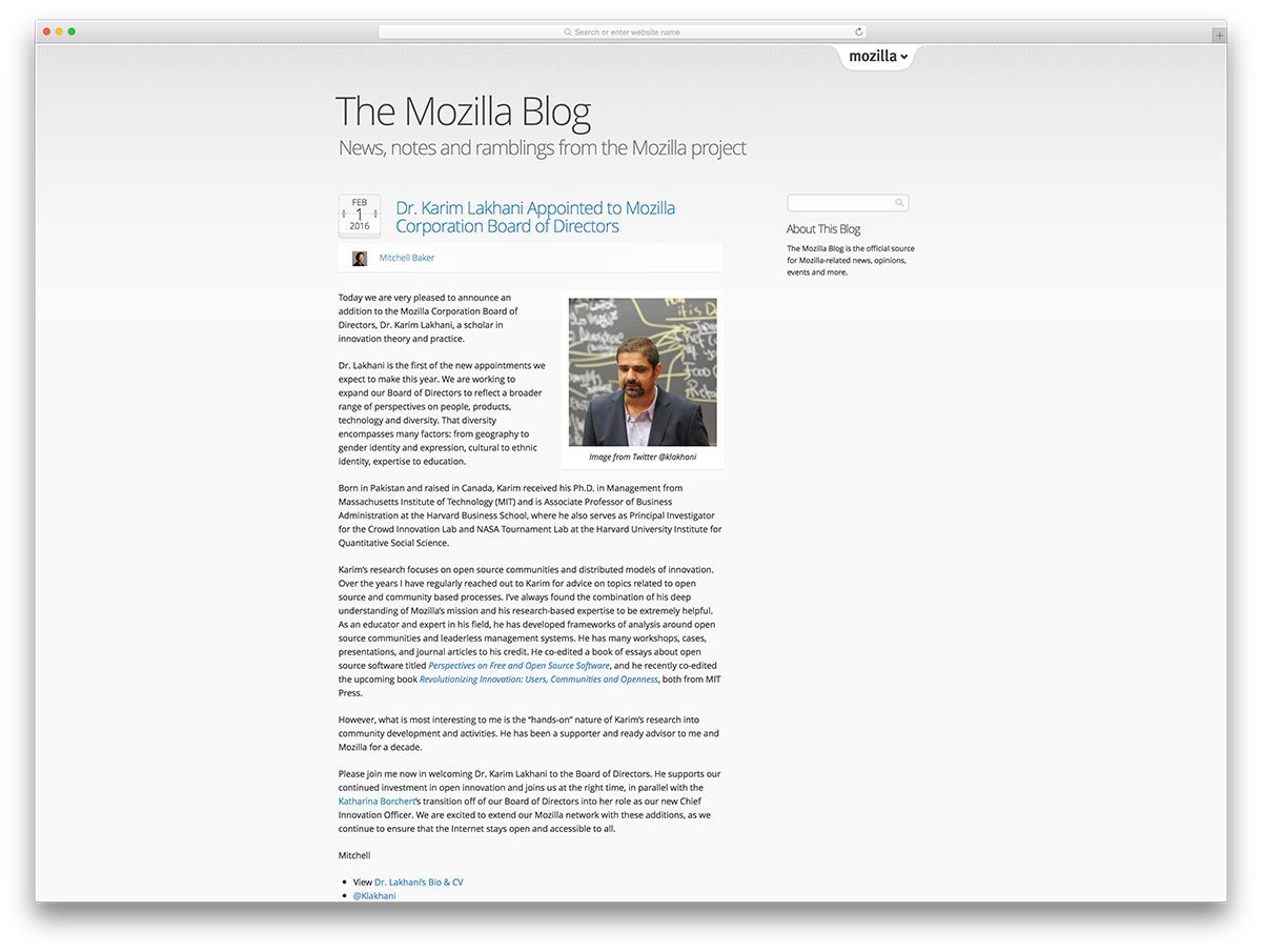 Mozilla博客基于wordpress-cms